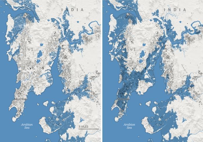 Thành phố Mumbai ở bờ biển phía tây Ấn Độ sẽ bị biến đổi hình dạng nghiêm trọng vì nước biển xâm lấn vào năm 2050. Đồ họa: The New York Times.