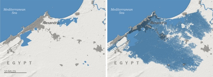 Nằm bên cạnh Địa Trung Hải, thành phố cảng Alexandria của Ai Cập sẽ biến mất gần như hoàn toàn khi nơi đây thành một phần của đại dương vào 30 năm tới. Đồ họa: The New York Times.