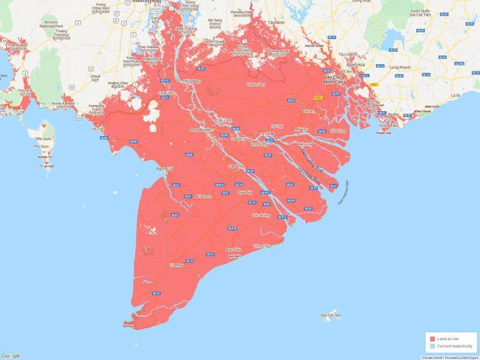 Theo dự báo, vựa lúa của cả nước ở miền nam có nguy cơ trở thành một phần của Biển Đông vào năm 2050.