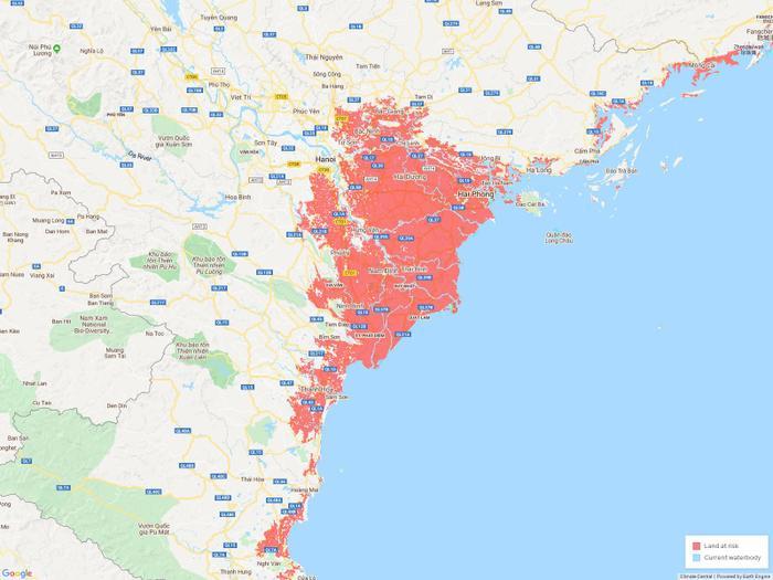 Đường bờ biển của thành phố cảng Hải Phòng cùng các vùng biển lân cận sẽ được vẽ lại khi nước biển lấn sâu vào đất liền.