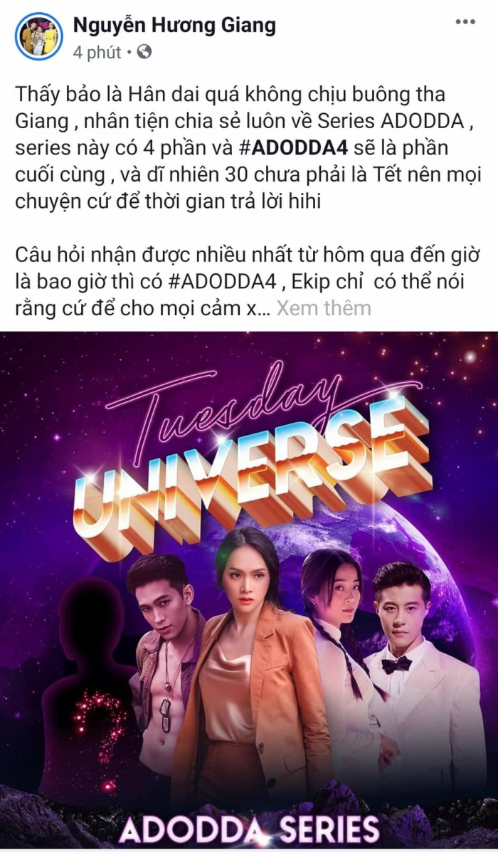 Hương Giang cho biết phần tiếp theo sẽ là hồi kết cho #ADODDA.