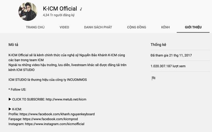 """Kênh của bộ đôi Jack và K-ICM - """"K-ICM Official"""" đã vượt ngưỡng 1 tỷ lượt xem, cụ thể là 1.020.307.187lượt xem."""