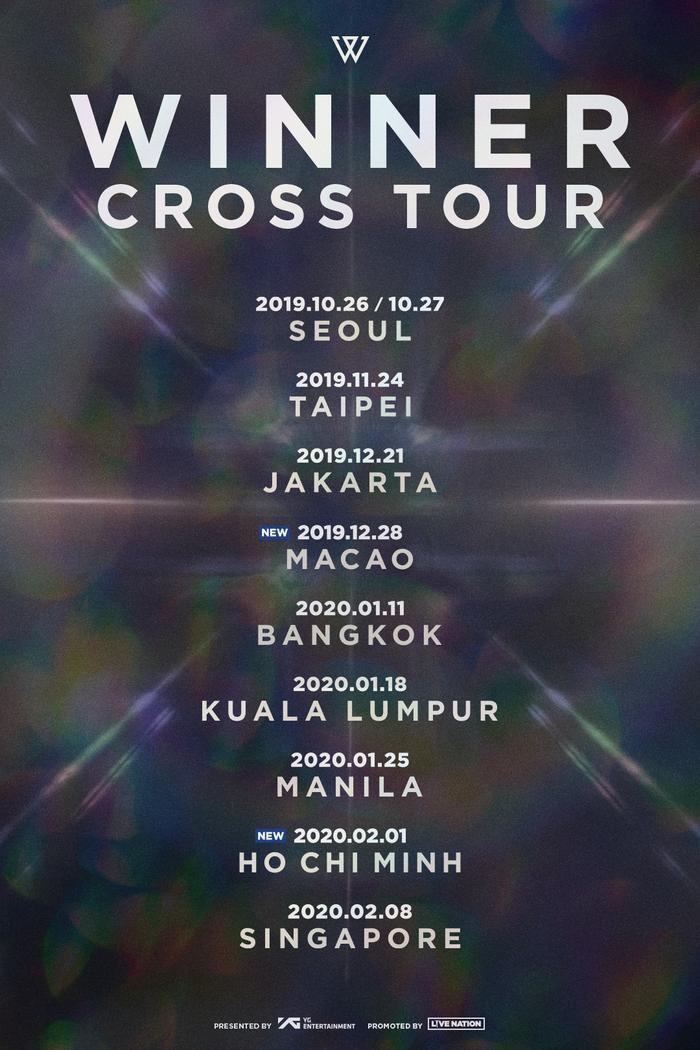 WINNER sẽ mang tour diễn CROSS của mình đặt chân đến TP HCM ngày 1/2/2020.