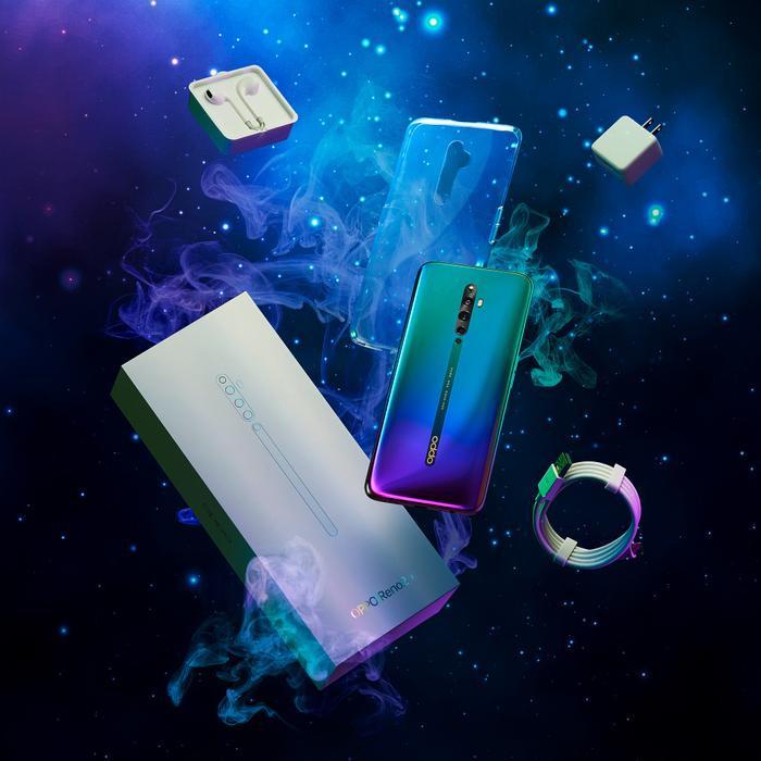 OPPO Reno2 F Xanh Tinh Vân (Nebula Green) lấy cảm hứng từ vẻ đẹp huyền bí của vũ trụ.