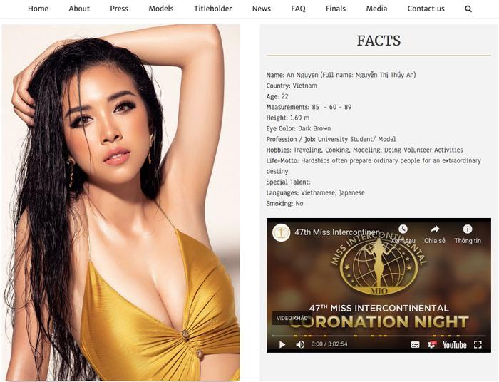Hình ảnh của đại diện Việt Nam - á hậu Thúy An trên trang chủ cuộc thi.