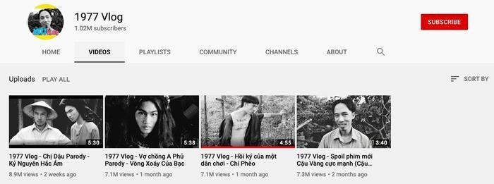 Các video của 1977 Vlog đều nhận được số lượng lượt xem lớn. (Ảnh chụp màn hình)