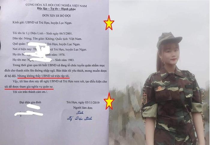 Mẫu đơn đăng ký nghĩa vụ quân sự của nữ sinh