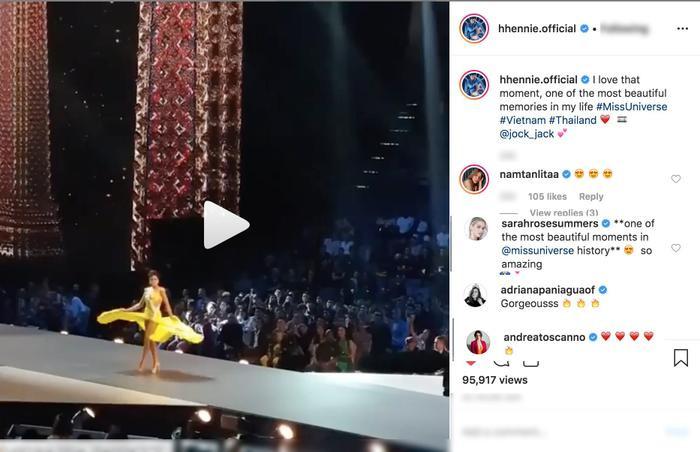 Hồi ức lại khoảnh khắc xoay váy trên sân khấu Bán kết - Miss Universe 2018, H'Hen Niê khiến dàn người đẹp khen tới tấp.