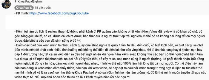 Một phần nội dungđược dân tình hiểu là lời giải thích cho loạt vlog gây tranh cãi ở Nhật Bản của Khoa Pug.