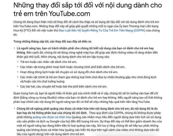 Lý do Khoai Lang Thang bị tắt kiếm tiền có thể có liên quan đến việc thay đổi chính sách liên tục từ YouTube, trong đó có việc sử dụng hình ảnh trẻ em trong sản phẩm của mình.