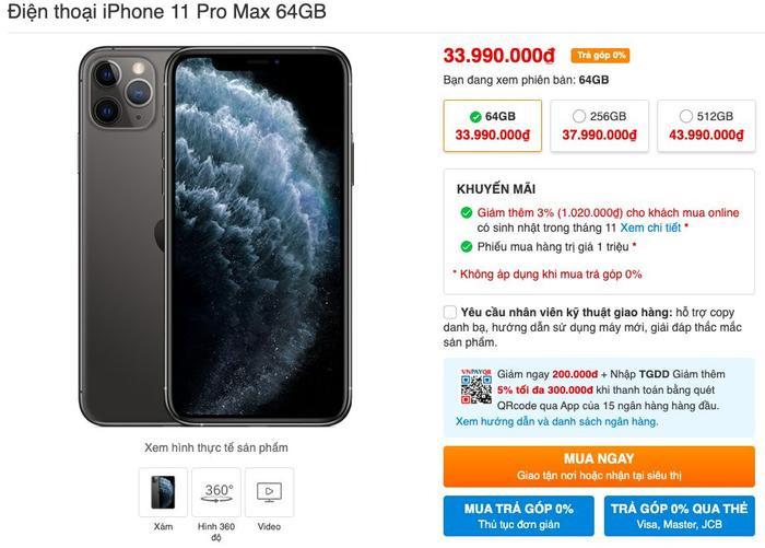 iPhone 11 Pro Max bản 64 GB dường như là phiên bản iPhone mới được quan tâm nhất tại Việt Nam.