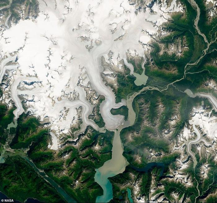 Sông băng Taku năm 2014, trước khi băng bắt đầu tan chảy.
