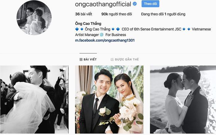 Tài khoản mạng xã hội cá nhân của Ông Cao Thắng cũng chỉ toàn đăng tải những hình ảnh ghi lại khoảnh khắc ở bên nhau của anh và Đông Nhi.