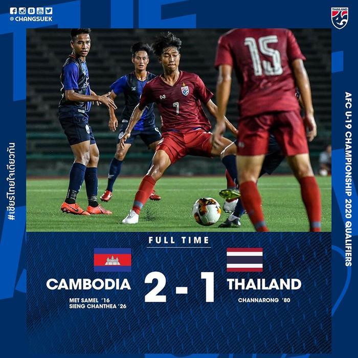 U19 Thái Lan nhận trận thua thứ 2 trong vòng 3 tháng trước Campuchia.