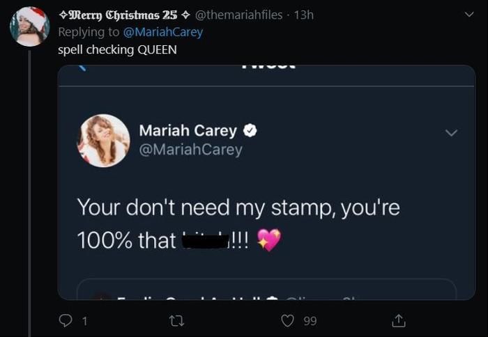 """""""Nữ hoàng ơi hãy kiểm tra kỹ lại chính tả trước khi đăng đi chứ."""" – một fan đã bắt quả tang Mariah viết sai ngữ pháp trong câu chúc mừng của mình."""