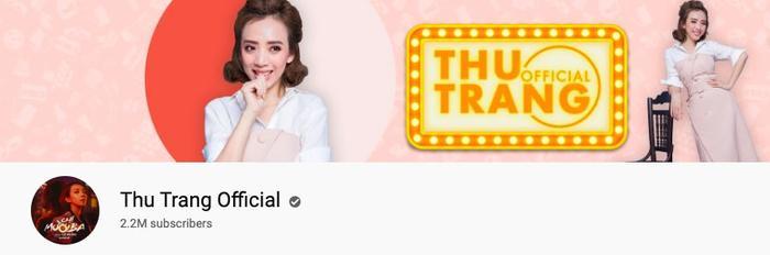 Nghệ sĩ Thu Trang đang sở hữu kênh YouTube có tới 2,2 triệu lượt đăng kí, một con số đáng mơ ước của nhiều nghệ sỹ trong Vbiz. Khác với Trấn Thành, kênh của Thu Trang thường xuyên đăng tải các tiểu phẩm hài mới của cô và một số nghệ sĩ khác.