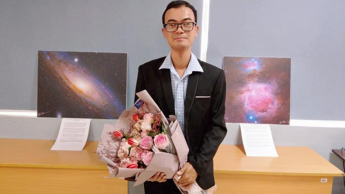 Anh Trần Hạ là diễn giả tại buổi tọa đàm Nhiếp ảnh thiên văn ở trường Đại học và Khoa học công nghệ Hà Nội (USTH) vào ngày 08/11 vừa qua. Ảnh: Hien Phan.