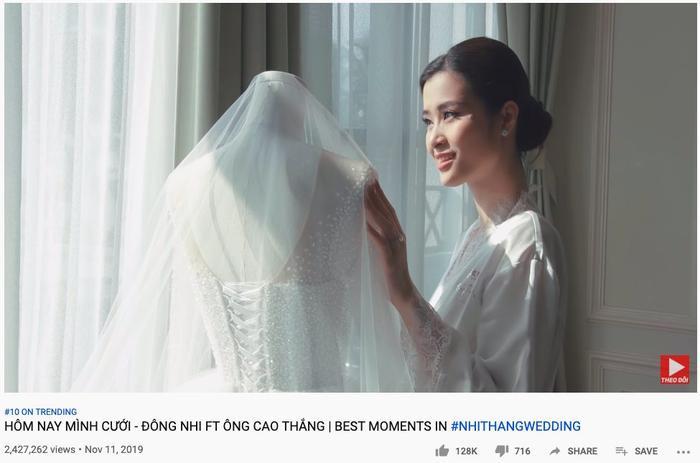 Video ghi lại hình ảnh lung linh trong đám cưới của Đông Nhi - Ông Cao Thắng nhận được nhiều lượt xem chỉ sau một thời gian ngắn. (Ảnh chụp màn hình)