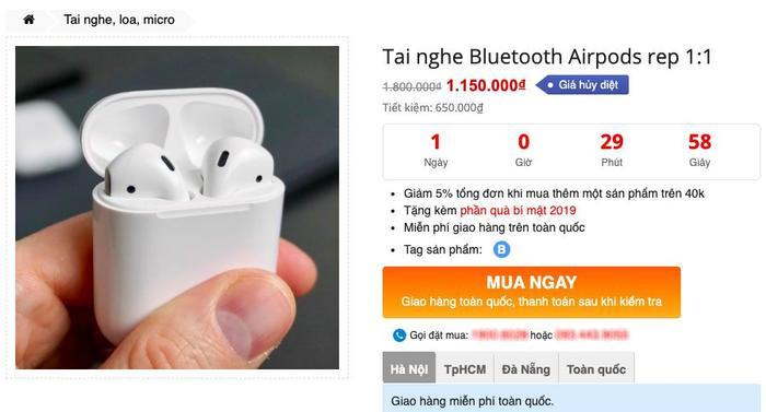 """Một website rao bán những chiếc AirPods Pro """"nhái"""". (Ảnh chụp màn hình)"""