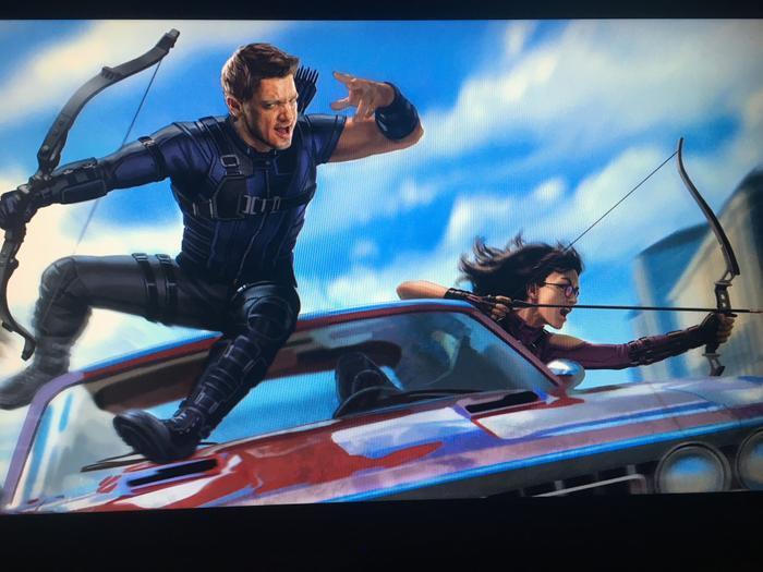 Hình ảnh sát cánh bên nhau của Clint Barton và Kate Bishop.