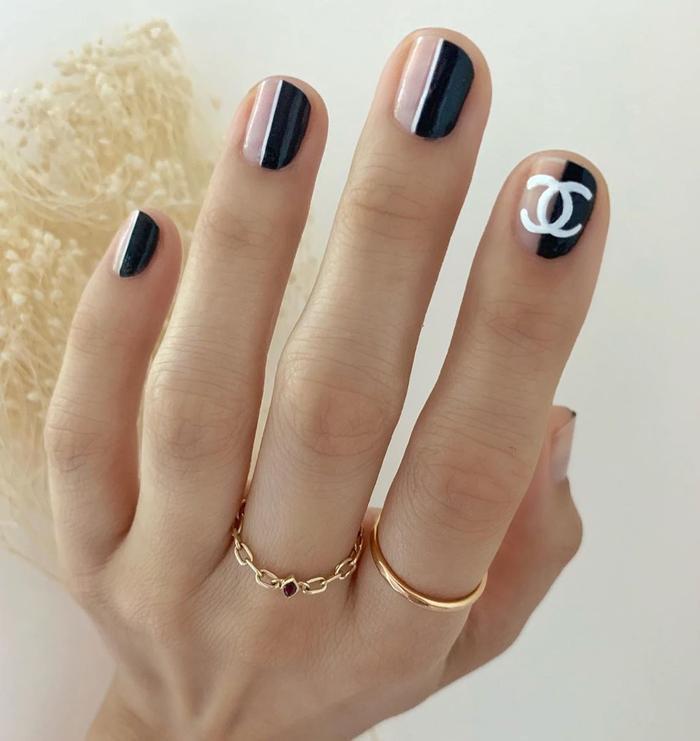 Chất phát ngất trend vẽ nail lấy cảm hứng từ logo các nhà mốt xa xỉ Gucci, Chanel, LV ảnh 0