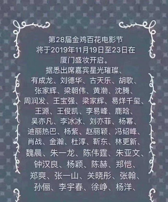 Danh sách dàn khách mời của giải Kim Kê Bách Hoa.