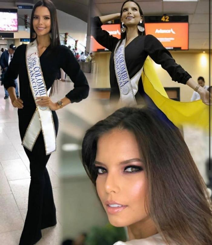 Không kém cạnh người chị em láng giềng, Hoa hậu Colombia diện jumpsuit đen kết gợp kiểu tóc hợp thẳng mượt.