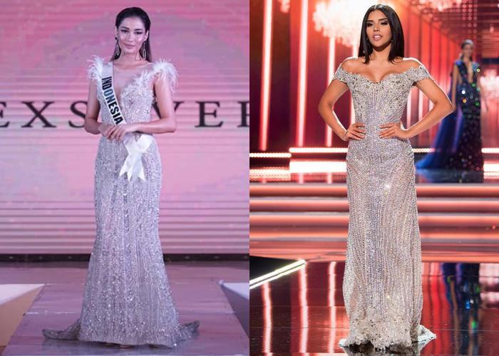 Vừa công bố, bộ cánh đã bị cư dân mạng tố sao chép ý tưởng từ Hoa hậu Colomiba 2017 - tức Á hậu 1 Miss Universe 2017.