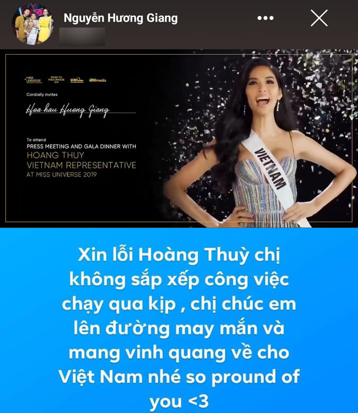 Lỡ hẹn với Hoàng Thùy, Hương Giang gửi lời xin lỗi: 'Chúc em mang vinh quang về cho Việt Nam'