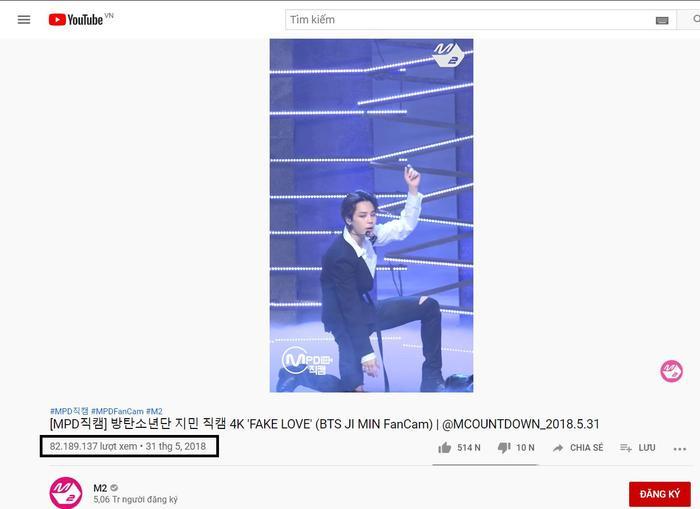 Fancam Fake Love của Jimin (BTS) cán mốc hơn 82 triệu lượt xem do M2 đăng tải.