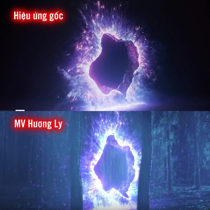 Đoạn hiệu ứng khá giống nhau giữa 2 MV.