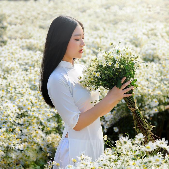 Áo dài trắng là một trong những loại trang phục được các bạn trẻ lựa chọn nhiều nhất khi chụp ảnh cùng cúc họa mi, bởi sự duyên dáng mà tà áo dài này mang lại.