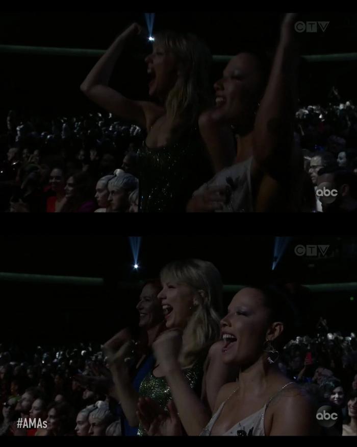 Taylor chính là người nhiệt tình nhất bên dưới hàng ghế khách mời khi xem Selena Gomez mở màn đêm diễn.