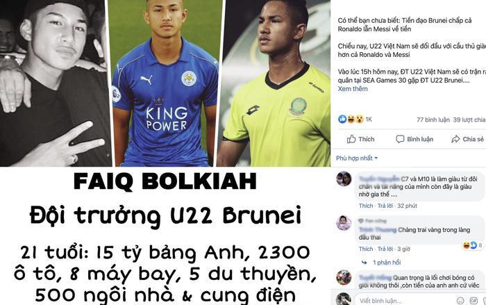 """Cư dân mạng Việt Nam dành không ít sự ngưỡng mộ và """"phát hờn"""" dành choFaiq Bolkiah, tiền đạo người Brunei có mặt trong đấu hôm nay vì quá giàu.(Ảnh chụp màn hình)"""