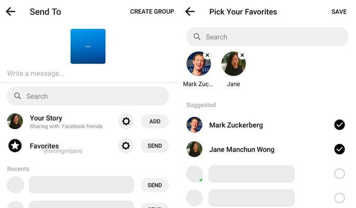 Tính năng Favorites mà Facebook đang thử nghiệm trong ứng dụng nhắn tin Messenger. (Ảnh: Twitter)