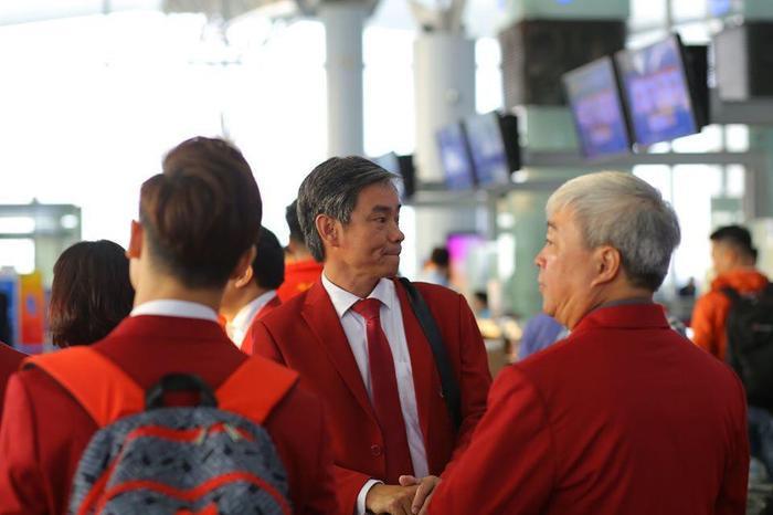 Trưởng đoàn Trần Đức Phấn bày tỏ quyết tâm hoàn thành nhiệm vụ giành 65-70 HCV, đứng trong top 3 đại hội. (Ảnh: Vietnamnet)