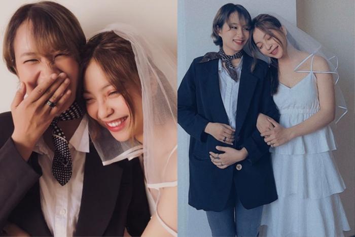 Nhật Lê từng chụp ảnh cưới cùng một người bạn gái khiến cô nàng dính nghi vấn giới tính.
