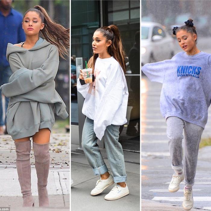 """Được biết, cô nàng """"tiểu diva"""" có một sở thích mặc áo quá cỡ so với kích thước cơ thể của mình và điểm đặc biệt là cả hai cánh tay của cô đều bị che khuất bởi lớp vải. Điều này khiến cho nhiều người không khỏi thắc mắc về sự bất tiện của Ariana khi phải hoạt động ngoài trời."""