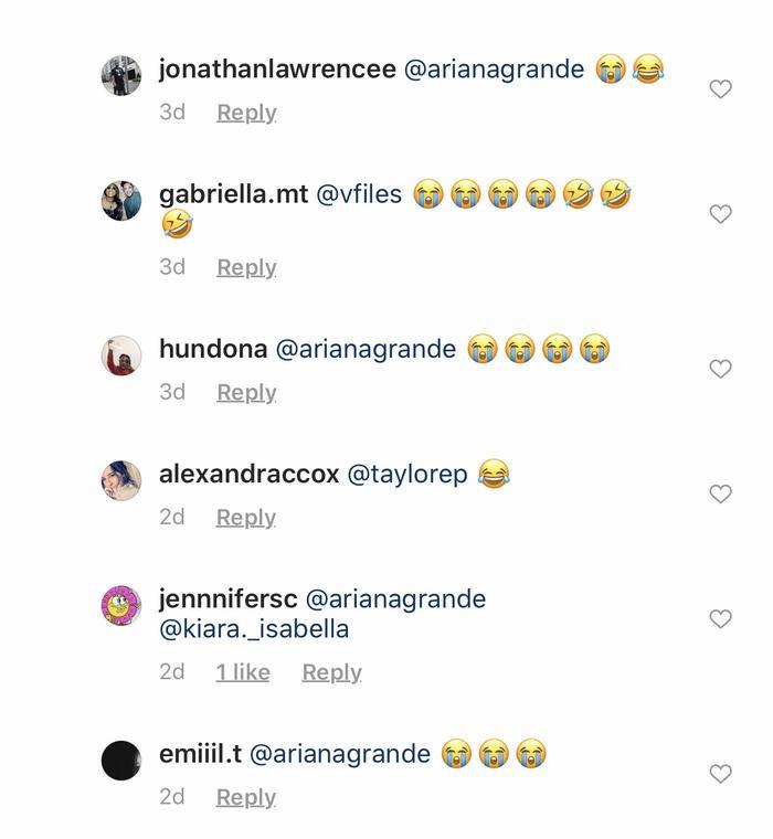 """Biểu tượng """"cười ra nước mắt"""" đã tràn đầy giao diện bài đăng trên mục phản hồi của Ariana Grande."""