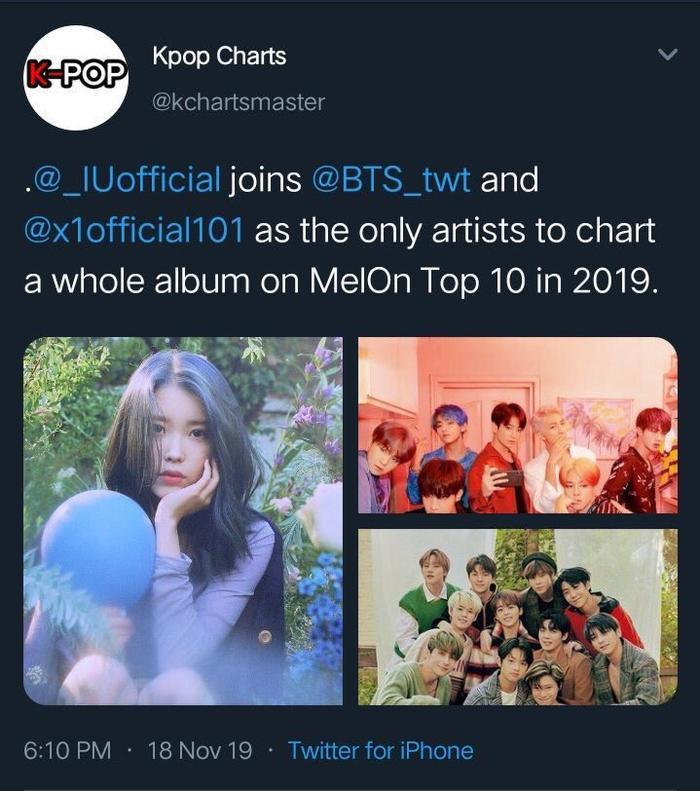 IU, BTS và X1 là nghệ sĩ duy nhất xếp hạng toàn bộ album trong Top 10 của Melon vào năm 2019.