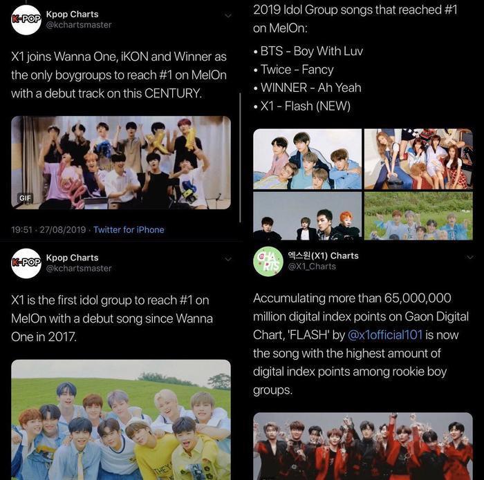 """""""X1 cùng Wanna One, iKON và Winner là nhóm nhạc nam duy nhất đứng hạng 1 với ca khúc đầu tay trên Melon"""". """"X1 là nhóm nhạc đầu tiên đứng #1 trên Melon với ca khúc debut kể từ Wanna One vào năm 2017"""". """"Những bài hát của nhóm nhạc đạt hạng #1 trên Melon năm 2019 – X1 đứng vị trí thứ 4"""". """"Tích lũy hơn 65,000,000 triệu điểm chỉ số kỹ thuật số trên Bảng xếp hạng Kỹ thuật số Gaon, Flash của X1 là ca khúc có điểm kỹ thuật số cao nhất trong tất cả các nhóm tân binh""""."""