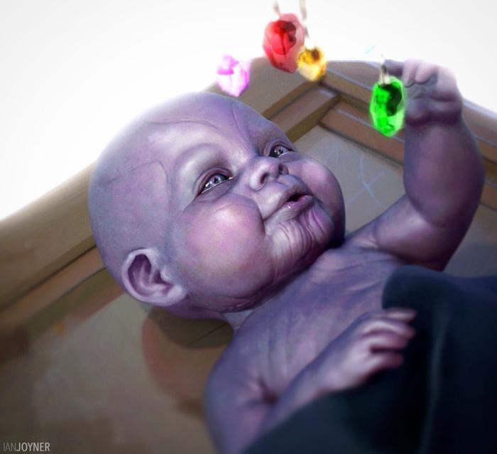 Tạo hình bé sơ sinh Thanos.