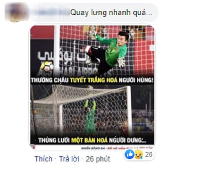 Một cư dân mạng buồn bã khi trước đó tại ASIAD 18 và giải vô địch bóng đá U23 châu Á, thủ môn Bùi Tiến Dũng từng là người hùng của đội tuyển Việt Nam khi bảo vệ khá chắc chắn khung thành đội nhà. Tuy nhiên, sai lầm trong trận đấu mới đây với Indonesia đã khiến Bùi Tiến Dũng bị chỉ trích nặng nề.