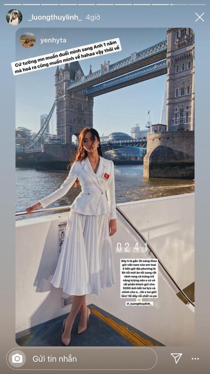 Ngay sau bữa ăn sáng, Lương Thùy Linh tiếp tục diện một thiết kế sắc trắng khác. Diện mạo của đại diện Việt như một quý cô London.