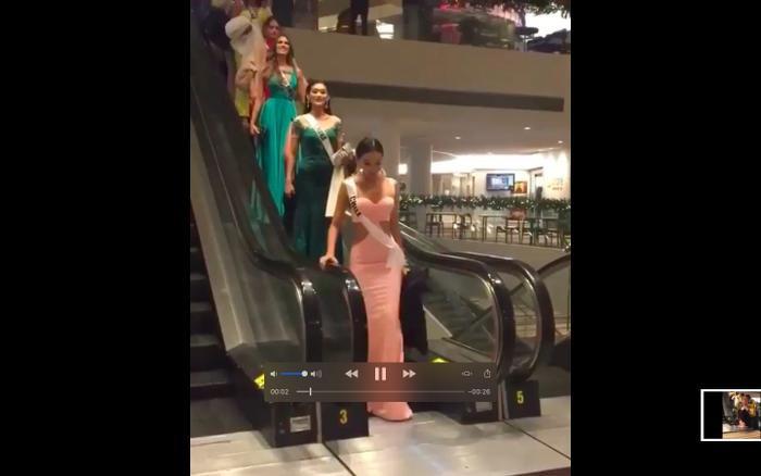 Vừa bước ra khỏi thang cuốn,Geraldine Gonzalez giật mình quay lại vì sự cố khá nguy hiểm.