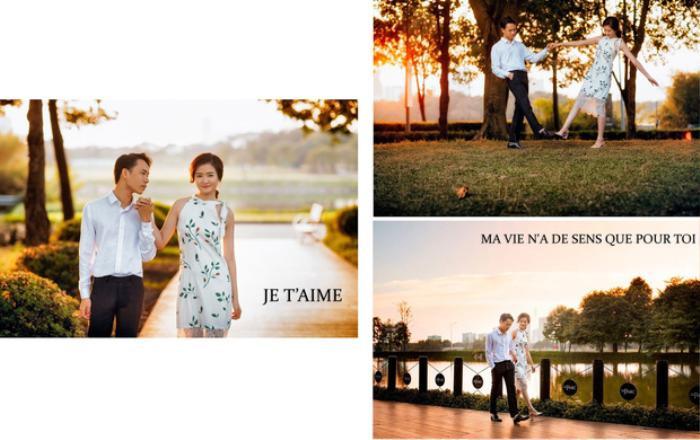 """Hết bày tỏ tâm tình bằng tiếng Việt, Trung Anh lại chuyển sang tiếng Pháp: """"Je t'aime. Ma vie n'a de sens qu'avec toi"""" (Tạm dịch: Anh yêu em. Cuộc sống của anh chỉ có ý nghĩ khi có em ở bên)"""