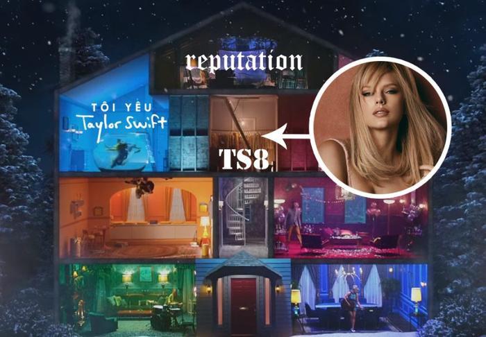 Một bạn fan hâm mộ đã nhanh nhạy phát hiện rằng căn phòng chứa cầu thang dẫn lên gác mái mang gam màu hoàn toàn trùng khớp với loạt ảnh mà Taylor Swift mới thay đổi gần đây. - nguồn ảnh: Tôi Yêu Taylor Swift.