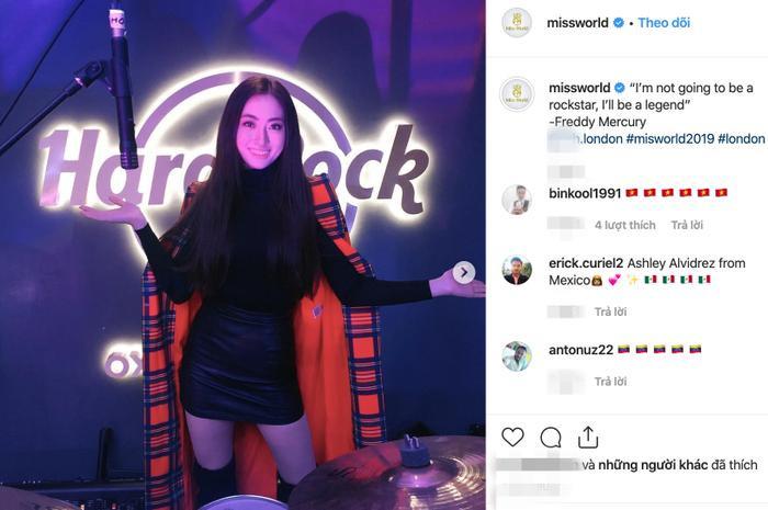 Hình ảnh đại diện Việt Nam – Lương Thùy Linh xuất hiện nổi bật trên trang Fanpage chính thức của Miss World 2019.