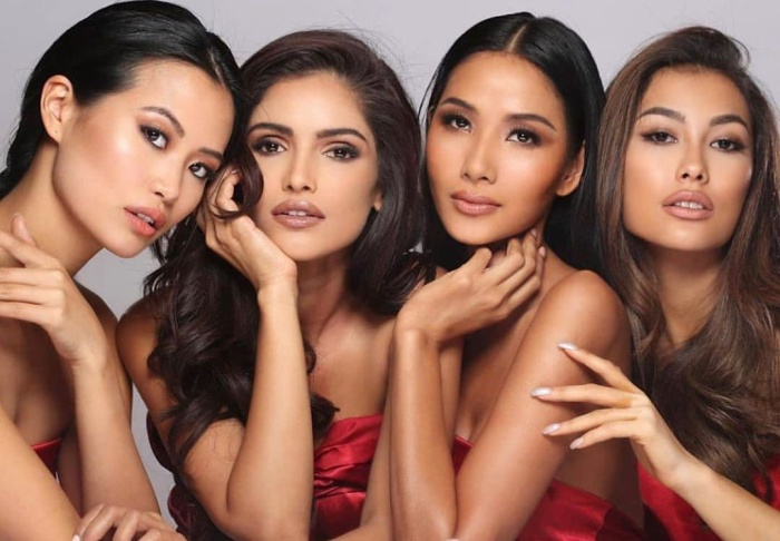 Bức ảnh chân dung đọ sắc đúng nghĩa của Hoa hậu Hoàn vũ Bỉ – Ấn Độ – Việt Nam – Indonesia.