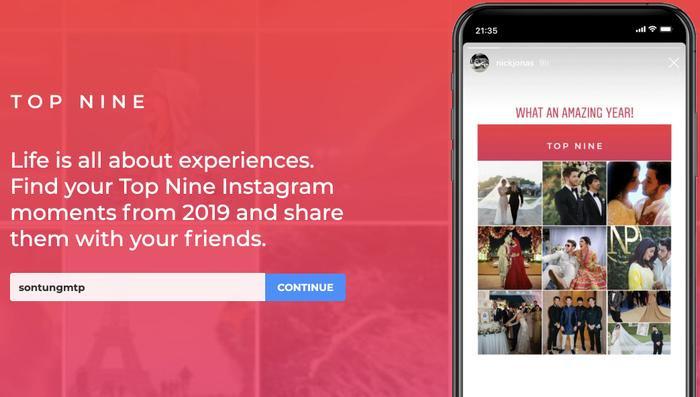 Truy cập vào trangTopnine.covà điền tên tài khoản Instagram của mình vào thanh tìm kiếm, ví dụ như SonTungMTP